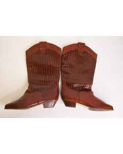 Brown/Orange Squared Women's Cowboy Boot W/Leather Upper Manmade Soles Size 7