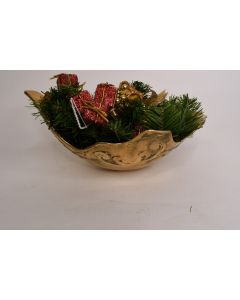 Brass Holly Shaped Centerpiece W/Christmas Pinecone Presents Gifts Berries Décor