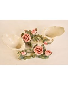 Set Of 2 Ivory Off White Sculpture Pink Rose Green Stem Home Art Décor Germany