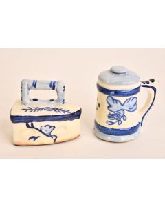 Set Of 2 Miniature Ceramic Blue & White Iron & Cup Figurines Collectible Décor