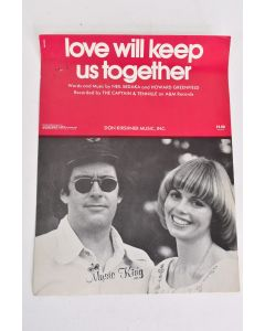 LOVE WILL KEEP US TOGETHER Sheet Music Sung by Captain and Tennille VTG 1975