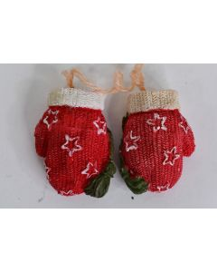 Pair Of Ceramic Red Winter Mittens With Stars Unbranded Tree Decor 2.5 x 1.25