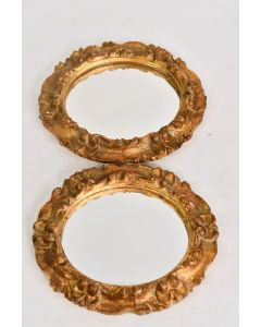 Vintage Italian Made Florentia Gold Decorative Oval Mirror Set Of 2 Collectible