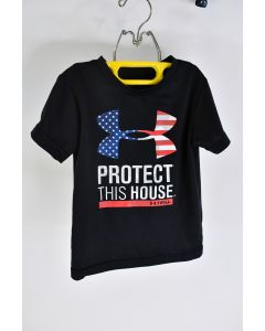 """Under Armour Toddler """"Protect This House"""" Heat Gear Graphic T-Shirt Black Sz 3T"""