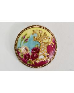 Vintage Round Gold Tone Hand Painted 2in C-Clasp Womens Brooch Floral Design Pin