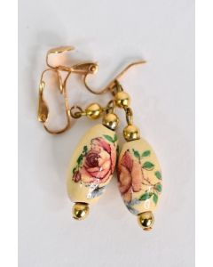 Women's Costume Jewelry Clasp Earrings Oval Shaped Floral Rose Flower Design