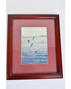 Red Picture Frame With A Picture Of Cranes In Flight Frame is 11.5 x 9.5 Inches