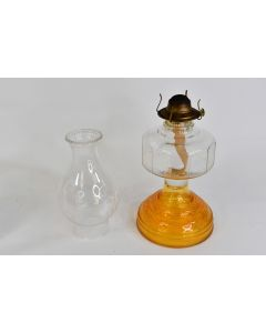 Vintage Amber Glass Kerosene Oil Lamp W/Mexican Dancers Frosted Chimney & Wick