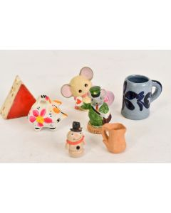 Set Of 7 Ceramic Figures Pig Mug Pitcher Mail Mouse Love Ya Mouse Snowman Cheese