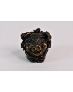 Miniature 1 In Pewter Bronze Happy Pig 7500 Collectible Knick Knack Paperweight