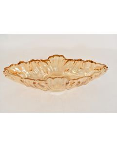 Vintage Amber Colored Oval Boat-Shaped Scalloped Centerpiece 15.5 In Bowl Décor