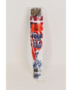 Set Of 4 USA 4 In x 6 In Flags 10.75 In Wooden Stake Handle Patriotic Decor NIP