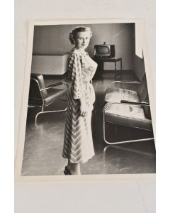 Vintage Black & White 5 In. x 7 In. Photo Of Standing Woman Wearing Dress & TV