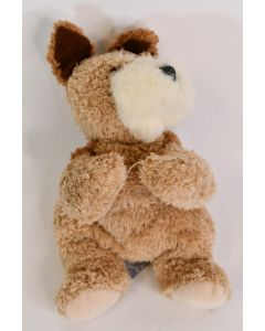 People Pals Brown & White Lying 8 Inch Puppy Dog W/Button Eyes Stuffed Animal