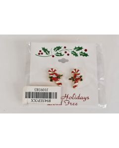 Pair Of New Gold Tone Holiday Colorful Candy Canes Pierced Earrings Unbranded