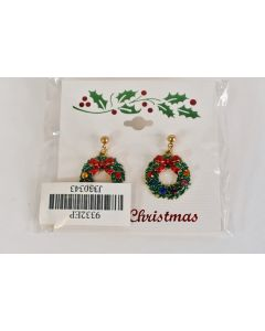 Pair Of New Gold Tone Holiday Colorful Wreath Pierced Earrings Marked 2008 FD