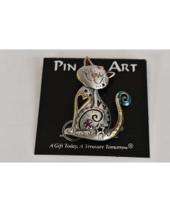 Spoontiques Pin Art Pewter Tone Happy Cat Pin Brooch 2 x 1.5 Inches Unbranded