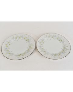White Ekco Prudence Serenade 342 Set Of Two Cup Saucers With Floral Designs
