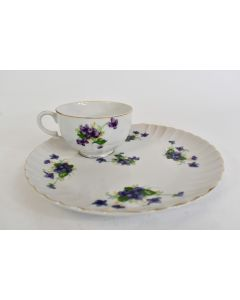 Norcrest Fine China Snack Plate With Tea Cup Sweet Violets Gold Trim NW-C-160-A