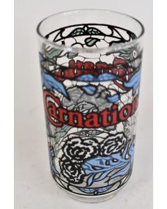 Vintage Painted Carnation Drinking Glass Circa 1970s Red Blue White And Green