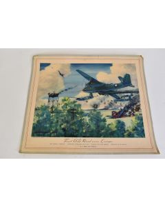"""Vintage First US Raid Over Europe July 4, 1942 Color Print Charles Hubbell (12.75"""" x 16.5"""")"""