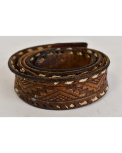 Vintage Men's South Western Style Brown Leather Belt No Buckle With Designs