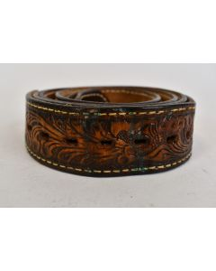 Men's Western Style Brown Leather Belt No Buckle With Designs Adjustable