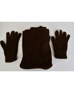 Winter Cold Weather Knitted Brown Long Scarf And Gloves Set Soft Unbranded