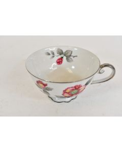 Vintage Bellaire China Peony Flowers Pattern Coffee Tea Cup Made In Japan Silver