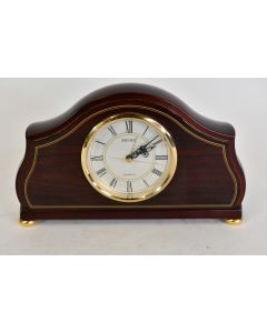Dark Wood With Gold Trim Working Seiko Mantel Clock With Roman Numeral Numbers