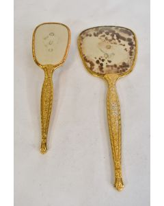 2 Pc. Vintage Gold Tone Vanity Hair Brush And Hand Mirror Set W/Floral Pattern