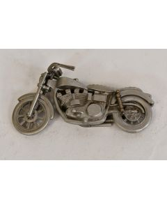 Decorative Collectible Heavy Gray Miniature Pewter Motorcycle With Kickstand Out