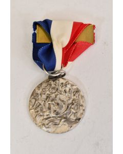 Vintage Collectible Silver Tone Sports Medal Pin With Red White And Blue Ribbon