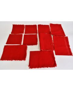 Set Of Ten Red Table Placements With Fringe Place Mat And Cloth Napkins