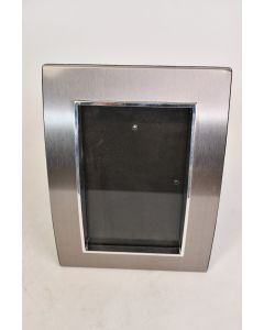 Silver Tone Metal Picture Frame With Glass Hanging Or Pedestal