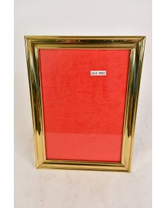 Heavy Solid Brass Picture Frame With Glass Hanging Or Pedestal With Red Backing