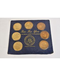 Reader's Digest Set Of 7 U.S. Presidents Coins 1997 Minted In Solid Brass Card