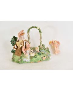 Vintage Music Box Angels & Geese By A Pond Music Oh What A Beautiful Morning
