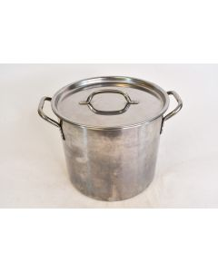 Stainless Steel Two Gallon Cooking Stock Pot With Lid & Handles Kitchen Cookware