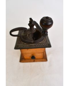 Antique Early 1900s Parkers National Wood & Cast Iron Coffee Grinder W/Drawer