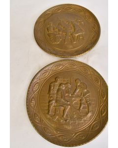 Decorative Gold Colored Tin Plates Colonial Scene Set Of 2 Home Décor Wall Décor
