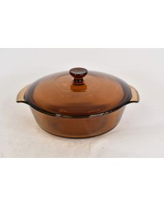 Vintage Anchor Hocking 437 Amber Casserole Dish W/ Lid Oven Proof Microwave Safe