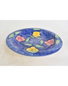 Jay Wilfred Hand Painted Blue With Yellow And Red Flowers Serving Bowl Portugal