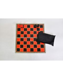 Vtg. Checkers Board Game Board And Box Only No Box Missing 1 Black Checker Piece
