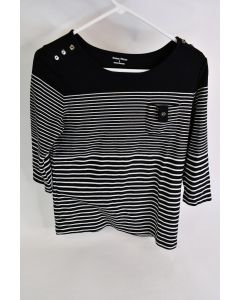 Studio Works Women's Cotton Polyester Black Pullover Sweater With White Stripes
