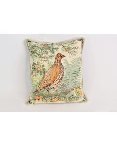 Small Quail & Pine Tree Nature Scene Rectangle Pillow W/A Green Back Home Décor
