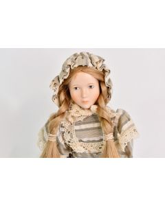 Echte Wupper Porzellanpuppe Porcelain Doll Made In Germany W/ Stand & Dust Cover