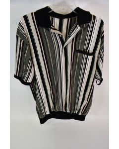 Unbranded Men's Multicolor Striped Button Up Short Sleeve Polo Shirt - No Size