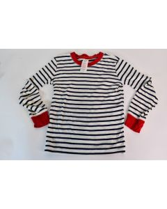 Mini Boden Blue W/ White Stripes And Red Trim Long Sleeve Shirt Size 8 Youth