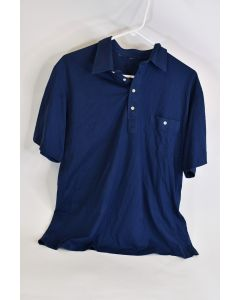 Blue Thin Lightweight Men's Clothing Button Up Polo Shirt W/ Left Chest Pocket